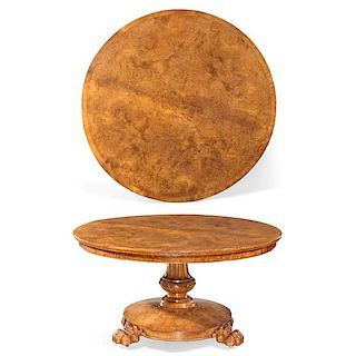 An English carved burl elm center table