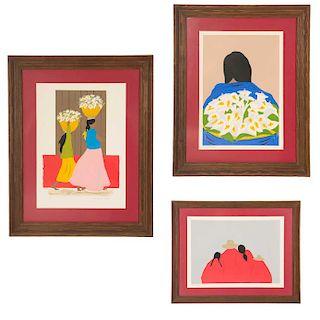 Lote de 3 serigrafías. José Manuel Robles. Consta de: Vendedora de flores, indígena con alcatraces e indígena.