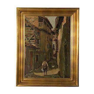 E. Moreno Navarro. Pueblo. Firmado en el ángulo inferior derecho. Óleo sobre tela. Enmarcado en madera dorada.