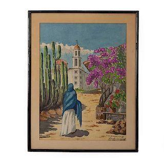Firmado Zamudio. Vista de iglesia con bugambilias y cactus. Acuarela sobre papel. Enmarcada en madera. Con dedicatoria.