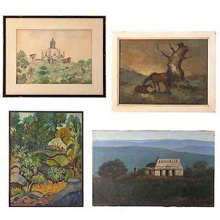 Lote de 4 obras pictóricas. 3 óleos sobre tela y una acuarela sobre papel. Consta de: Caballos, Paisaje, Iglesia y Palenque.