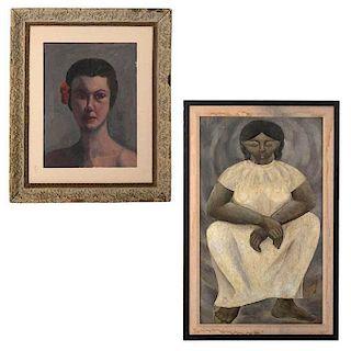 Lote de 2 obras pictóricas. Óleos sobre madera. Consta de Firmado Hermman. Indígena y Anónimo. Retrato de dama.