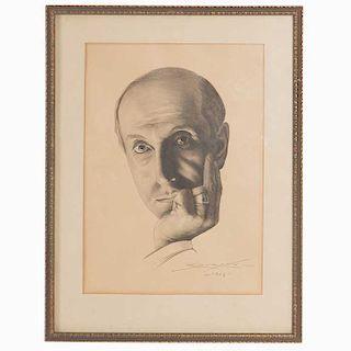 Firmado R. Durand. Retrato de Armando Nervo. Fechado 1943 en el ángulo inferior derecho. Tinta sobre papel. Dimensiones: 32 x 22 cm