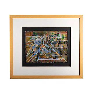 Grace Cohen. (México, Siglo XX) Shattered. Firmado en el ángulo inferior derecho. Collage y acrílico sobre papel acuarela.