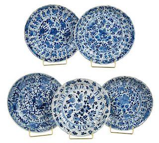 Five Chinese Export Kraakware Plates