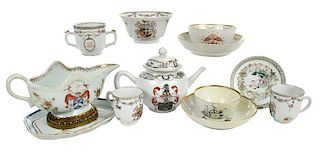 Eleven Armorial Chinese Export Porcelain Items