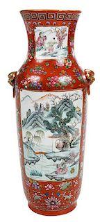 Chinese Enameled Iron Red Vase