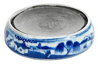 Kangxi Porcelain Ink Stone Blue and White