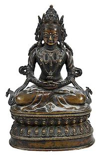 Tibetan Bronze Figure of Amitayus