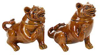 Pair of Glazed Terracotta Dogs