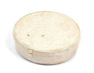 A Dingyao White Glazed Porcelain Covered Box Diameter 4 1/2 inches.