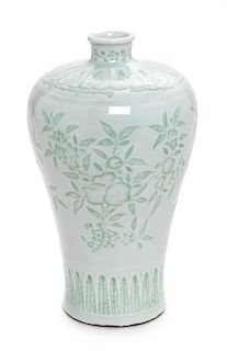 * A White Glazed Porcelain Vase, Meiping Height 8 1/4 inches.