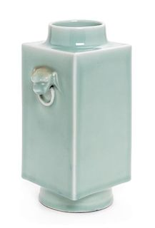 * A Celadon Glazed Porcelain Cong Vase Height 10 1/8 inches.