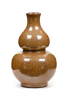 A Ge-Type Porcelain Gourd Vase Height 7 inches.