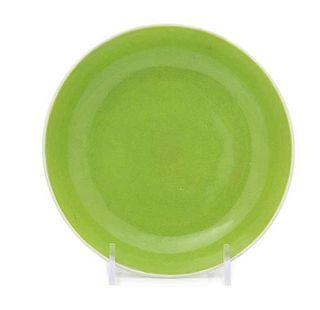 An Apple Green Glazed Porcelain Dish Diameter 5 7/8 inches.