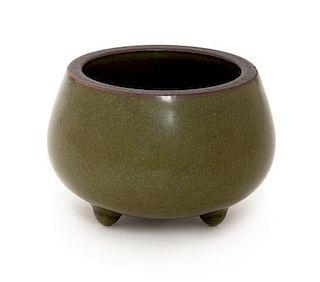 A Small Teadust Glazed Porcelain Tripod Censer Diameter 3 inches.