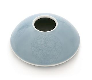 A Claire-de-Lune Glazed Porcelain Water Coupe Diameter 4 3/4 inches.