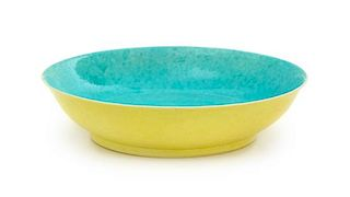 A Turquoise and Yellow Glazed 'Dragon' Porcelain Dish Diameter 6 7/8 inches.