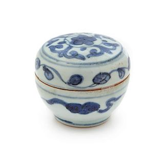 A Blue and White Porcelain Seal Paste Box and Cover Height 2 3/4 inches.