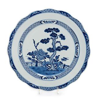 A Large Blue and White Glazed Porcelain Charger Diameter 16 3/8 inches.