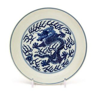 A Blue and White Porcelain 'Dragon' Dish Diameter 6 3/8 inches.