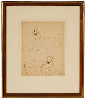 Milton Avery Ink on Paper 'Afghan Dogs'