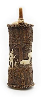Exceptionally Carved Antler Powder Horn