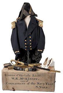 The Wilson R. McKinney Naval Collection, Including Dress Uniform, Sword, Telescope, Trunk, Journal, & More