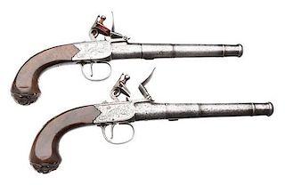 Pair of English Cannon Barrel Center Hammer Flintlock Pistols by Griffin of Bond St., London