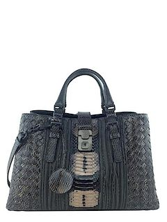 c33d2aa83f88 Bottega Veneta Intrecciato Snakeskin Small Roma Bag · Consigned Designs