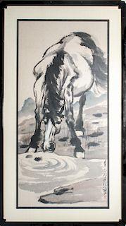 "Xu Beihong ""Horse"" Ink & Watercolor on Paper"