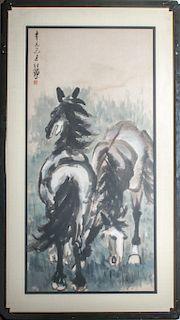 "Xu Beihong ""Two Horses"" Ink & Watercolor on Paper"