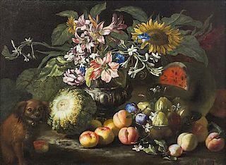 Abraham Brueghel, (Flemish, 1631-1690), Nature morte (Still Life with Fruit and Dog)