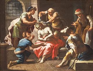 Continental School, (17th century), Soldiers Placing a Crown of Thorns on Christs Head