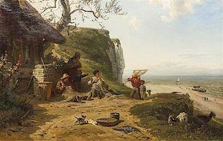 Ludwig (Louis) Hugo Becker, (German, 1833-1868), Mending the Nets, 1863