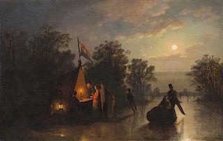 Johann Mongels Culverhouse, (Dutch, 1820-1891), Skating by Moonlight, 1867