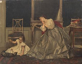 Gustave Leonhard de Jonghe, (Belgian, 1829-1893), Mother and Child with Cat, 1866