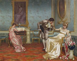 Vittorio Reggianini, (Italian, 1858-1938), The Suitor