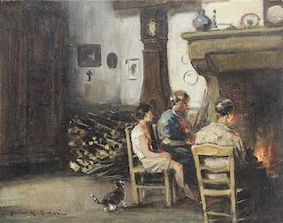 Jules Rene Herve, (French, 1887-1981), Around the Hearth