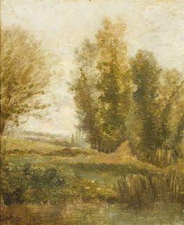 Charles François Daubigny, (French, 1817-1878), Pond with Poplars, 1841