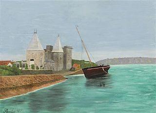 Camille Bombois, (French, 1883-1970), Voilier pres du chateau