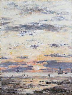 Eugene Boudin, (French, 1824-1898), Marée basse aux environs de Sainte-Adresse - Soleil couchant, 1888