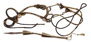 Hitched Horsehair Bridle and Reins with Matching Quirt from Walla Walla Prison, Walla Walla, WA