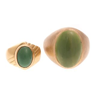 A Pair of Ladies & Gents Jade Rings in Gold