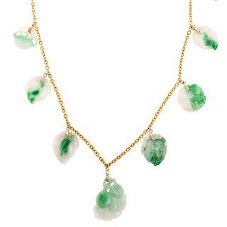 An Apple Green & White Jadeite Necklace in 22K