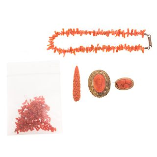 A Collection of Vintage Carved Coral Pink & Beads