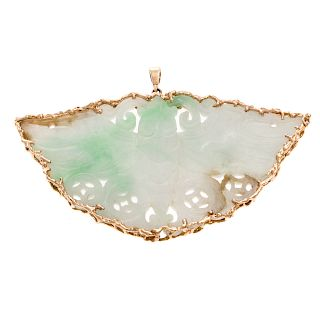 A Large Moth Jade Pendant in 14K Gold