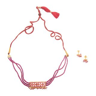 A Ladies Ruby Necklace & Earrings in 22K Gold