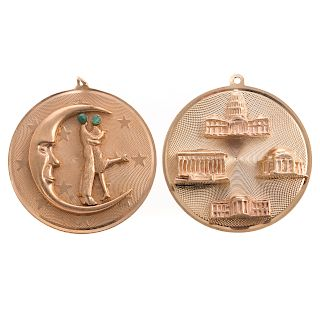 Two Large Round Charms in 14K Gold