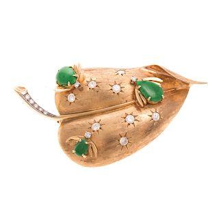 A Ladies Vintage Jadeite & Diamond Brooch in 14K